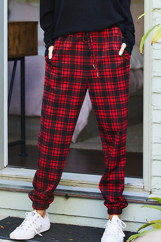 Red Plaid Joggers