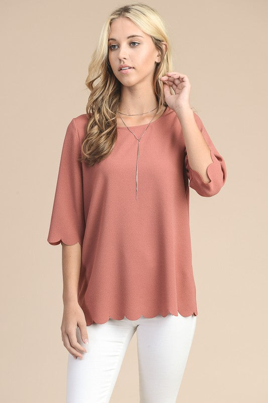 Dusty Rose Scallop Top