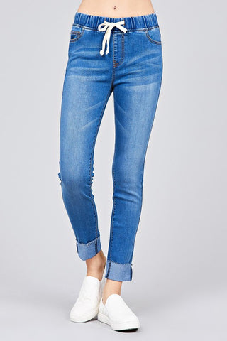 Elastic Drawstring Jeans - 2 colors