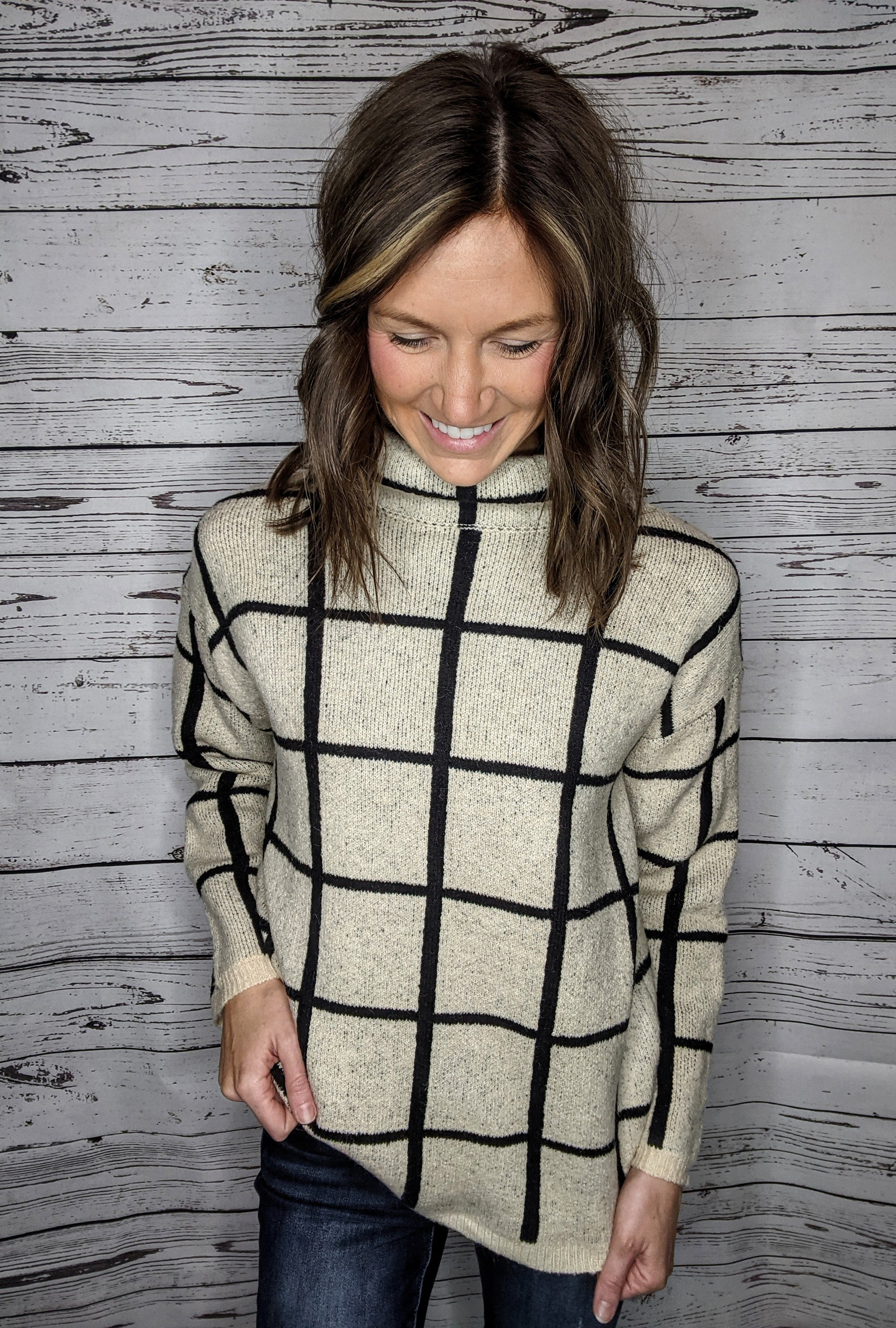 Oatmeal Grid Sweater