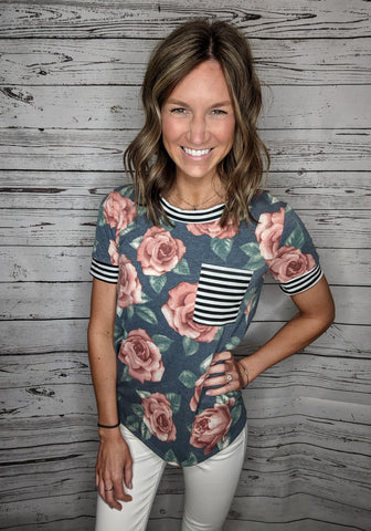 Kennedy Floral + Stripe Top