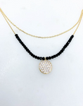 Layered Round Stone Pendant Necklace (2 Colors)