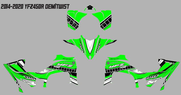Yamaha YFZ450R Graphics (2014-2020)-OEM TWIST Green