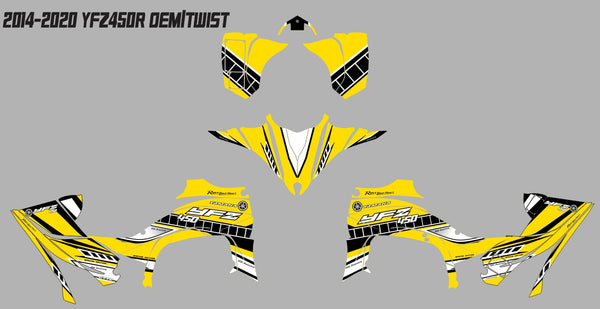 Yamaha YFZ450R Graphics (2014-2020)-OEM TWIST Yellow