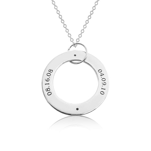 Sterling Silver Circle Pendant - 2 Names With Birthstones