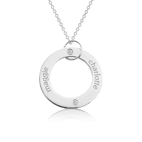 Image of 14k Gold Circle Pendant - 2 Names With Birthstones