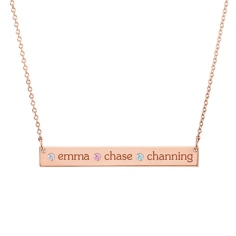 Image of 14K Gold Skinny Bar Birthstone Necklace - 3 Names & 3 Stones