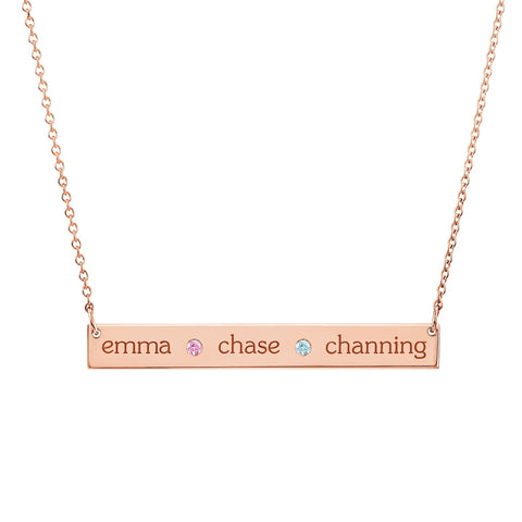 14K Gold Skinny Bar Birthstone Necklace - 3 Names & 2 Stones