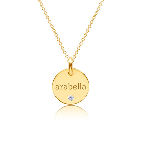 Gold Circle Necklace with Birthstone