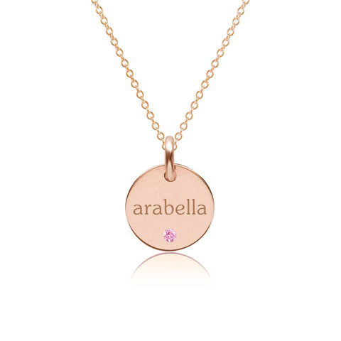 14k Gold Circle Necklace with Birthstone