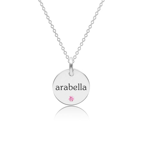 Sterling Silver Circle Necklace with Birthstone