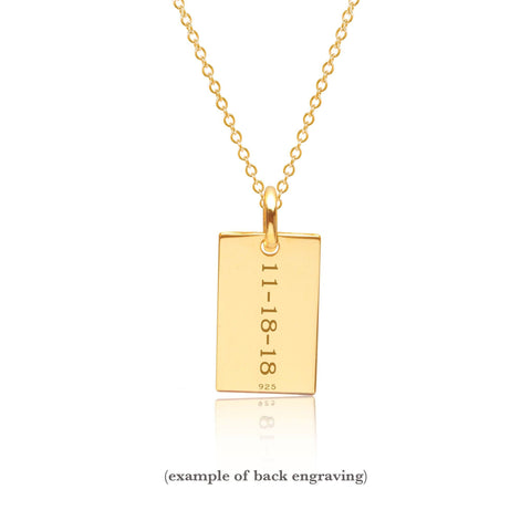 Gold Monogram Dog Tag Necklace