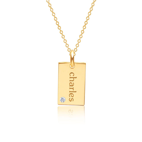 14k Gold Mini Dog Tag Necklace with Birthstone