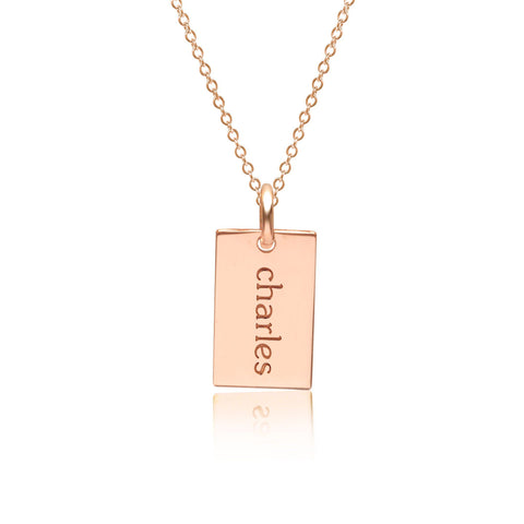 14k Gold Mini Dog Tag Necklace