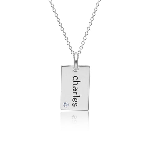 Sterling Silver Mini Dog Tag Necklace with Birthstone