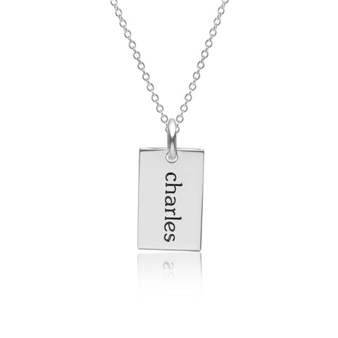 Sterling Silver Mini Dog Tag Necklace