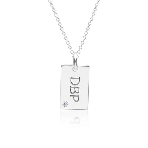 14k Gold Monogram Dog Tag Necklace With Birthstone