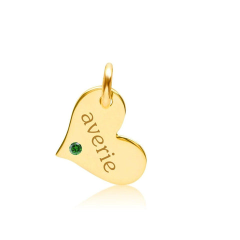 Image of 14k Gold Heart with Birthstone