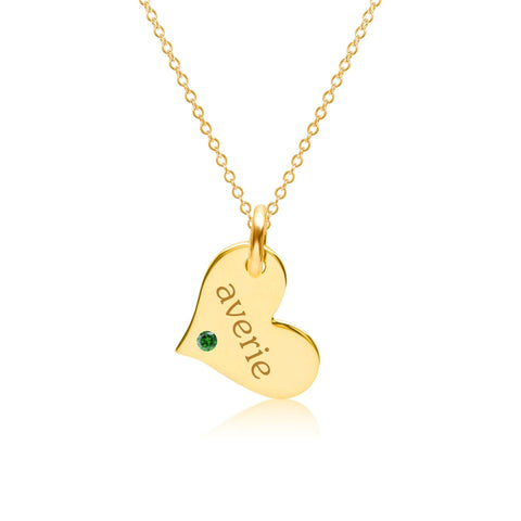 Gold Heart Necklace with Birthstone