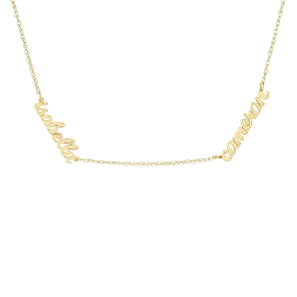 14K Gold Script Nameplate Necklace - 2 Names