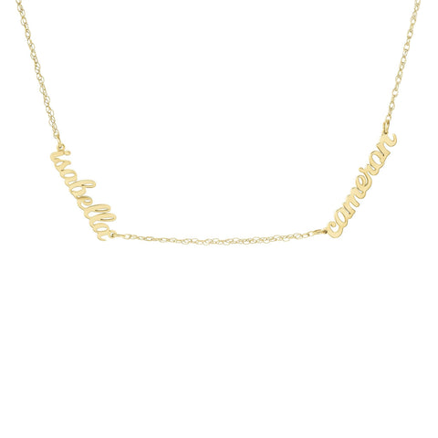 Gold Script Nameplate Necklace - 2 Names
