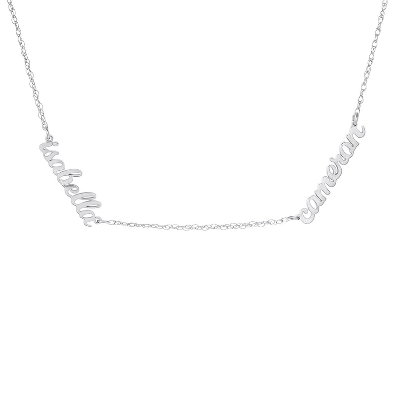 Sterling Silver Script Nameplate Necklace - 2 Names