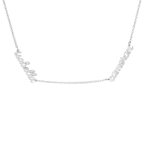 Image of Sterling Silver Script Nameplate Necklace - 2 Names