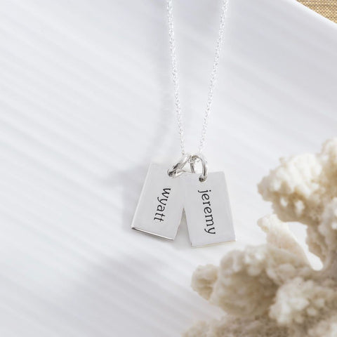 Sterling Silver Mini Dog Tag Necklace - 2 Names