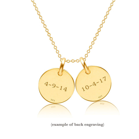 14k Gold Initial Necklace - 2 Circles - Lowercase