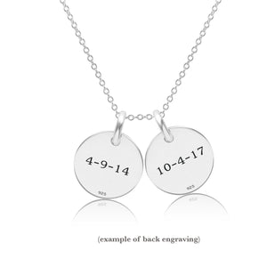 Sterling Silver Initial Necklace - 2 Circles - Uppercase