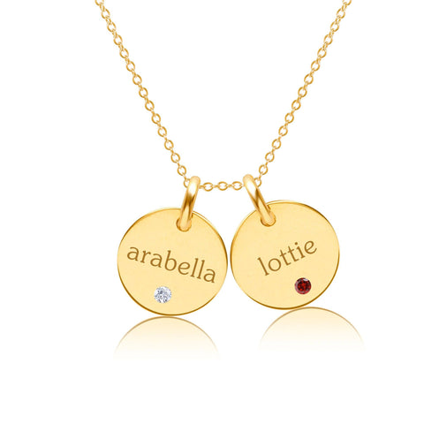Gold Circle Necklace - 2 Names With Birthstones