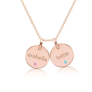 14k Gold Circle Necklace - 2 Names With Birthstones