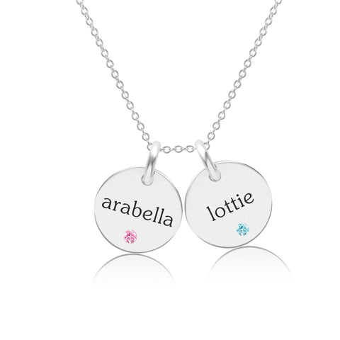 Sterling Silver Circle Necklace - 2 Names With Birthstones