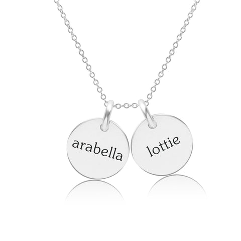 Sterling Silver Circle Necklace - 2 Names