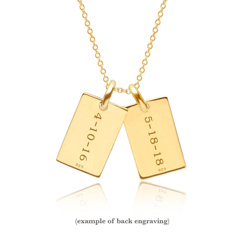 Image of Gold Mini Dog Tag Necklace - 2 Names
