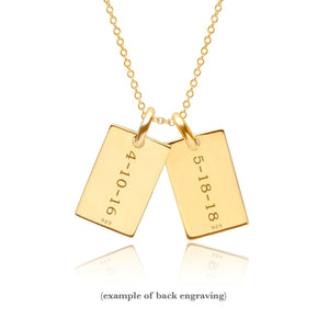 14k Gold Mini Dog Tag Necklace - 2 Names