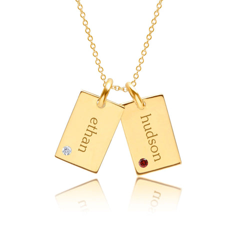 Gold Mini Dog Tag Necklace - 2 Names With Birthstones