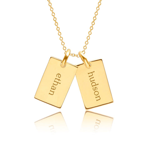 Gold Mini Dog Tag Necklace - 2 Names