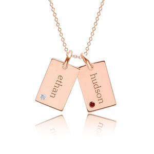 14k Gold Mini Dog Tag Necklace - 2 Names With Birthstones