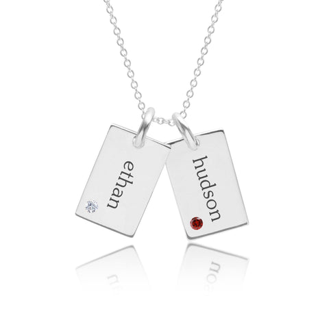 Sterling Silver Mini Dog Tag Necklace - 2 Names With Birthstones