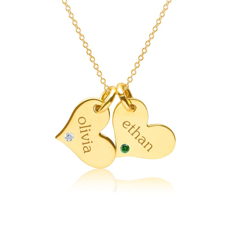 Image of 14k Gold Heart Necklace - 2 Hearts With Birthstones