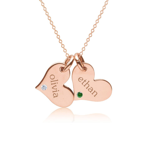 14k Gold Heart Necklace - 2 Hearts With Birthstones