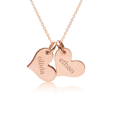 14k Gold Heart Necklace - 2 Hearts