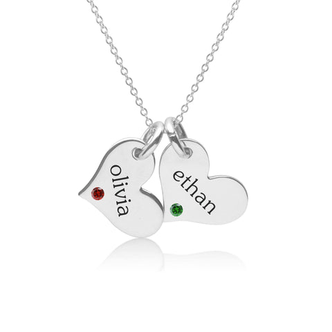 Sterling Silver Heart Necklace - 2 Hearts With Birthstones