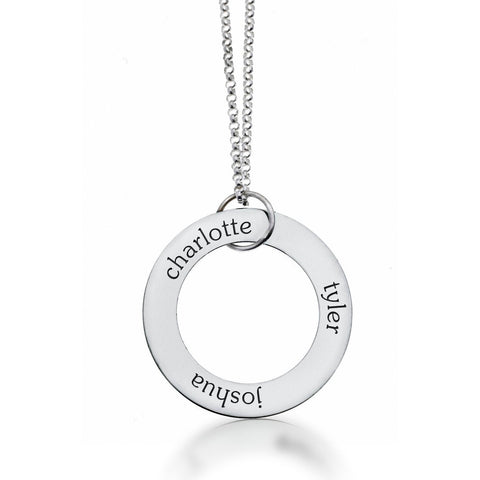 Image of Sterling Silver Circle Pendant - 3 Names