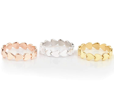 Gold + Sterling Silver Perfectly Imperfect Heart Band Set