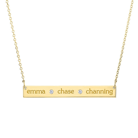 Gold Skinny Bar Birthstone Necklace - 3 Names & 2 Stones