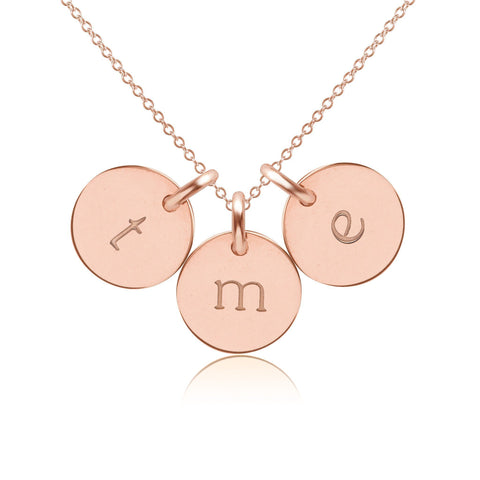 14k Gold Initial Necklace - 3 Circles - Lowercase