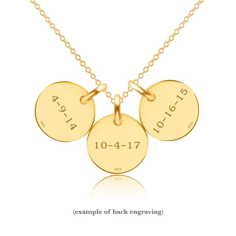 Gold Initial Necklace - 3 Circles - Lowercase
