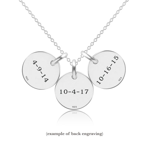 Sterling Silver Initial Necklace -3 Circles - Lowercase